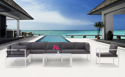 Golden Beach Outdoor Sectional Set in Gray 70703004 from Zuo Modern