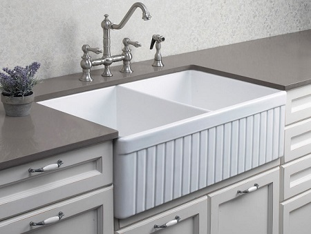 """White 32"""" Fluted Double Bowl Fireclay Farmhouse Kitchen Sink From Alfi"""