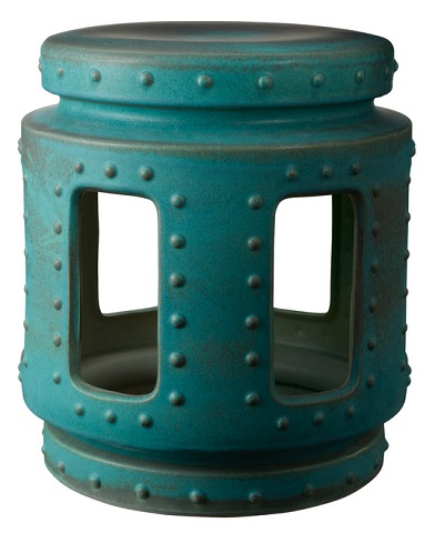 Earthenware Throne Stool with Turquoise Copper Patina 857043 from Lazy Susan