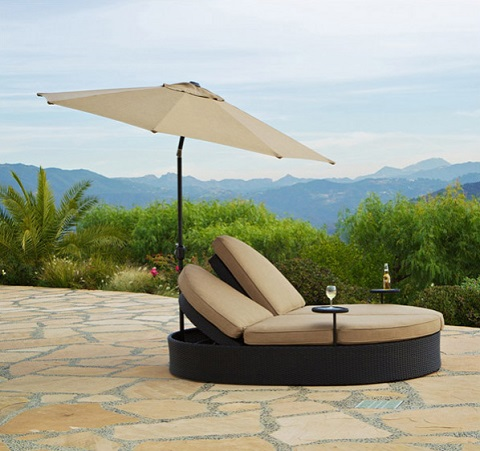 Solara Double Chaise With Umbrella GF-LD3007-99 UPU1002-9-8 from AFD