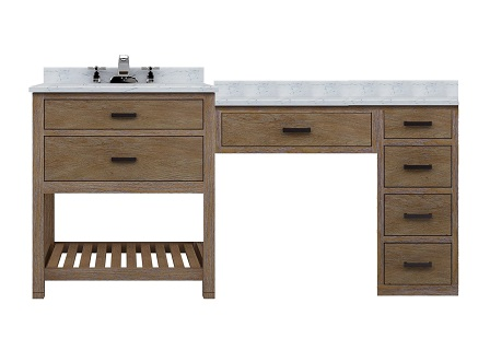 """Toby 66"""" Modular Bathroom Vanity With Drawers And Makeup Station From Sagehill Designs"""
