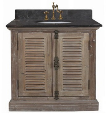"""Recycled Fir 36"""" Bathroom Vanity With Black Marble Countertop And Sink From InFurniture 1936"""