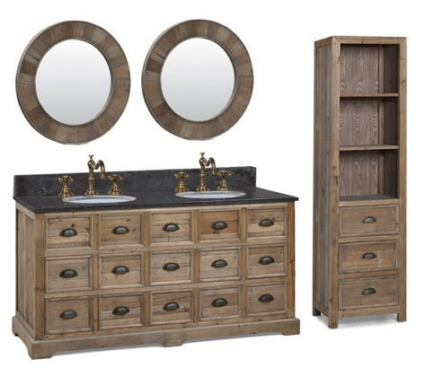 "Recycled Fir 60"" Double Vanity WK1560 From InFurniture"