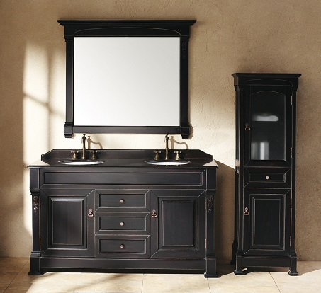 """Brookfield 60"""" Double Bathroom Vanity With Cabinet In Antique Black 147-114-5631 from James Martin Furniture"""