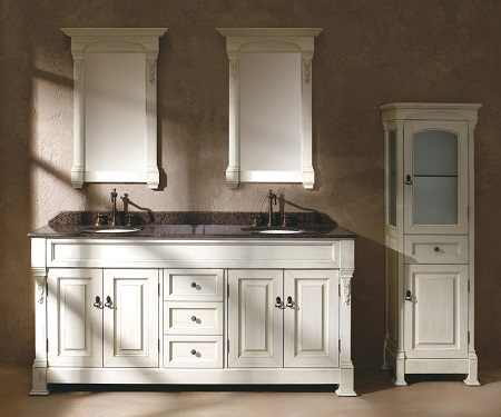 "Brookfield 72"" Double Bathroom Vanity With Cabinet In Cottage White 147-114-5741"