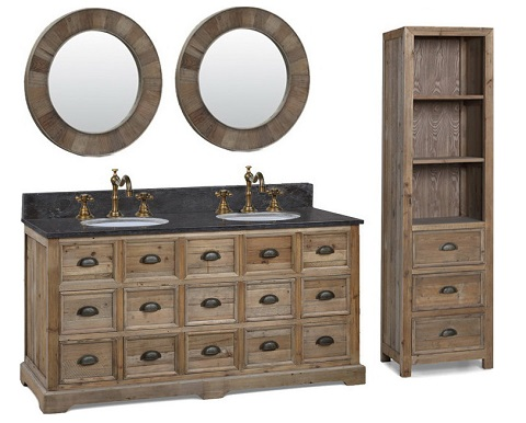 """Recycled Fir 60"""" Double Vanity With Cabinet 1560 From InFurniture"""
