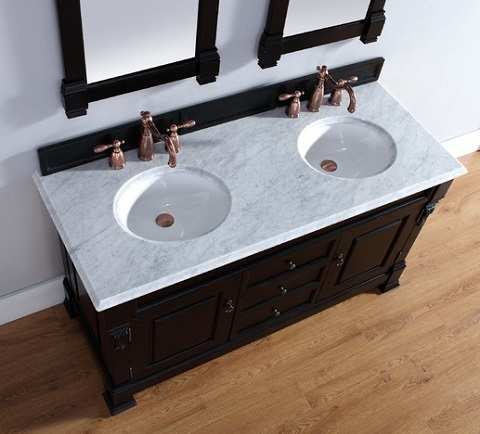 "Brookfield 60"" Double Bathroom Vanity In Antique Black With Carrara Marble Vanity Top 147-114-5631 from James Martin Furniture"