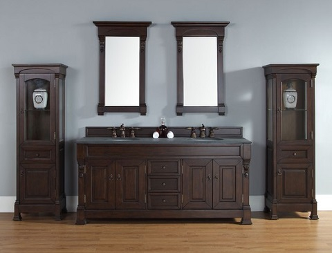 "Brookfield 72"" Double Bathroom Vanity With Matching Cabinets And Mirroros  In Burnished Mahogany 147-114-5761 from James Martin Furniture"