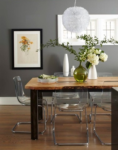 Because they're clear, transparent chairs also blend well with a variety of different styles, including a very relaxed, natural decor (by barlow reid design)