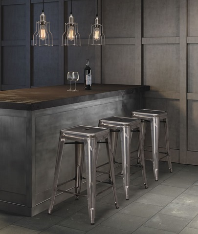 Gunmetal gray chairs paired with concrete elements and exposed bulb lighting makes a picture perfect industrial style (by Zuo Modern)