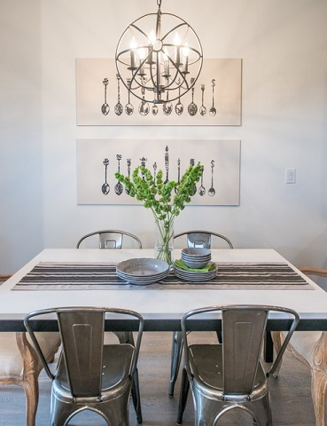 "Metal chairs work beautifully with a monochromatic gray decor, and can add a nice ""found"" element to a rustic chic style (by Alykhan Velji Design, photo by Bookstrucker Photography)"