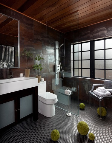 Polycarbonate chairs are even durable enough to be used directly in the shower, and make a great, stylish alternative to a conventional shower seat or bench (by Jeffrey King Interiors)