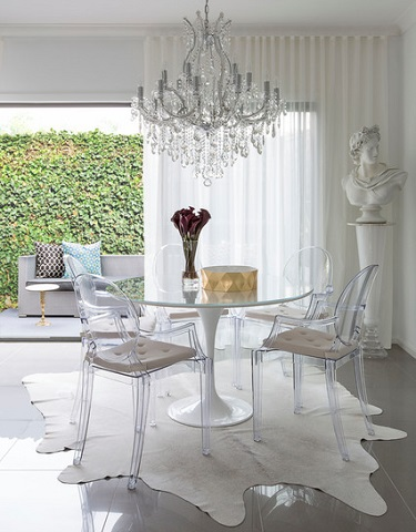 Transparent chairs are a natural fit with a sleek, chic, high end modern design (by Massimo Interiors)