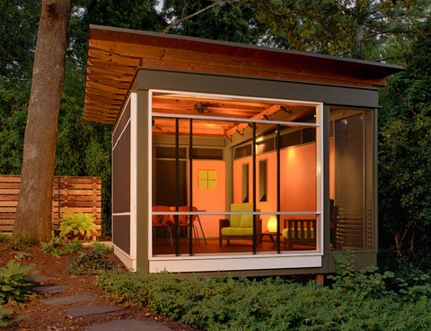 A home office shed offers a comfortable, private place to meet with clients outside your home (by Axios Architecture LLC/Steve Robinson)