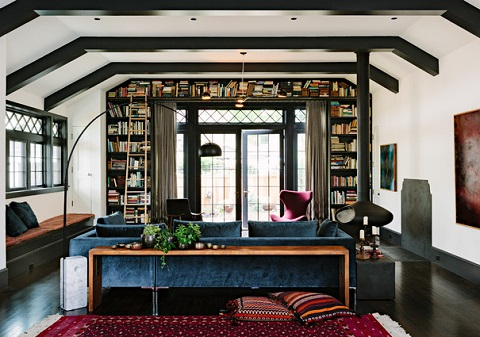 Building bookshelves up above your windows or doors is a great way to make use of wasted space (by The Works, Lincoln Barbour)