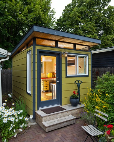 Companies like Modern Shed produce fully finished home office sheds designed to your exact specifications, making the process incredibly easy (by Modern-Shed, Dominic AZ Bonuccelli)