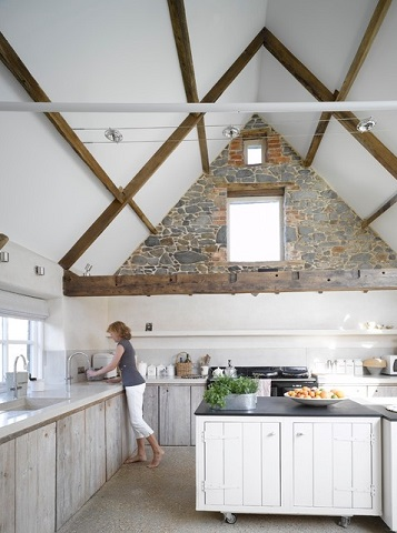 Garages make excellent greatrooms, with high gabled ceilings and a totally open floorplan that you can easily connect to the rest of your home (by JAMIE FALLA ARCHITECTURE, photo by Nick Guttridge)