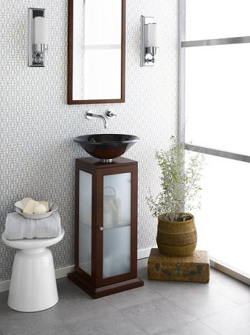 """Solis 15"""" Glass Pedestal Cabinet 033615 From RonBow"""
