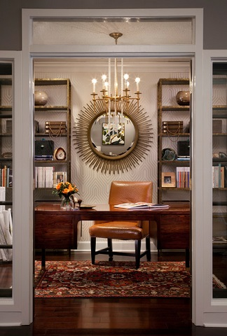 A bold, distinctive chandelier can make an eclectic home office feel unified rather than cluttered (by KS McRorie Interior Design, Attic Fire Photography)