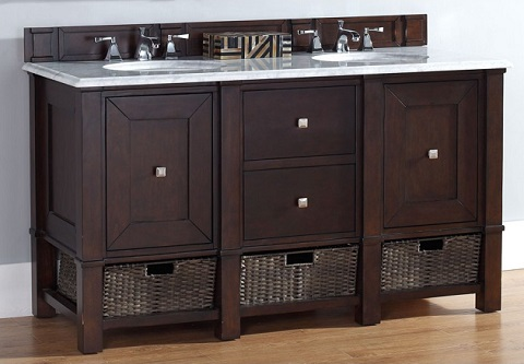 "Madison 60"" Double Bathroom Vanity Cabinet in Burnished Mahogany 800-V60D-BNM from James Martin Furniture"