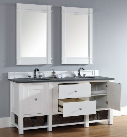"Madison 72"" Double Bathroom Vanity Cabinet In Cottage White 800-V72-CWH from James Martin Furniture"
