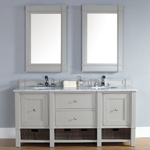 "Madison 72"" Double Bathroom Vanity Cabinet In Dove Gray Oak 800-V72-DVG from James Martin Furniture"