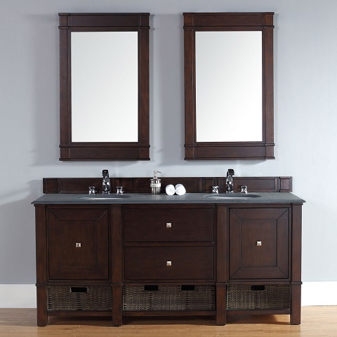 "Madison 72"" Double Bathroom Vanity Cabinet in Burnished Mahogany 800-V72-BNM from James Martin Furniture"