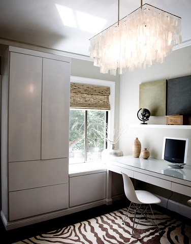 The right chandelier can save a spare, contemporary styled home office from feeling overly sterile (by Amoroso Design)