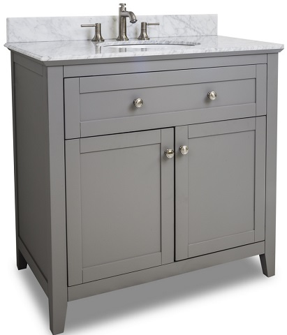"36"" Gray Shaker Style Bathroom Vanity VAN102-36-T from Hardware Resources"