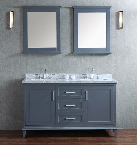 "Seacliff Nantucket 60"" Single Sink Bathroom Vanity Set SCNAN60SWG from Ariel"