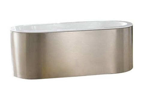 "Acrylic 66"" Freestanding Tub With Stainless Steel Skirt ATOVN66-SS from Barclay"