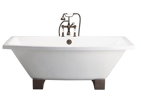 "Barclay Athens 67"" Cast Iron Tub With Wooden Blocks CTSQH67-WH"