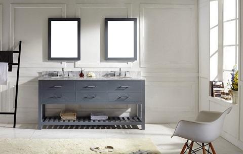 """Caroline Estate 72"""" Double Vanity In Gray from Virtu"""