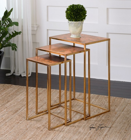 Copres Oxidized Nesting Table Set of Three 24449 from Uttermost