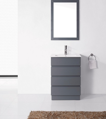 "Ultra Modern 24"" Gray Bathroom Vanity UM-3085-C-GR from Virtu"