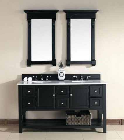 Urban South Hampton 60 Double Vanity 925-V60D-AQB-GWH in Antique Black from James Martin Furniture