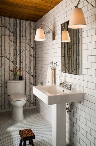 Colored grout can totally transform a classic subway tile, giving it a much more assertive, urban feel rather than a classic cottage charm (by Heather Garrett Design)
