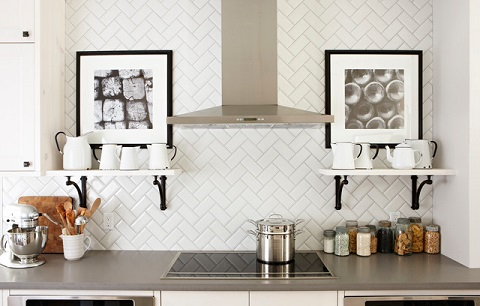 Simply changing the layout of the same-old subway tile can make for a dramatically different - and eye-catching - accent (by Sarah Richardson Design, photo by Stacey Brandford)