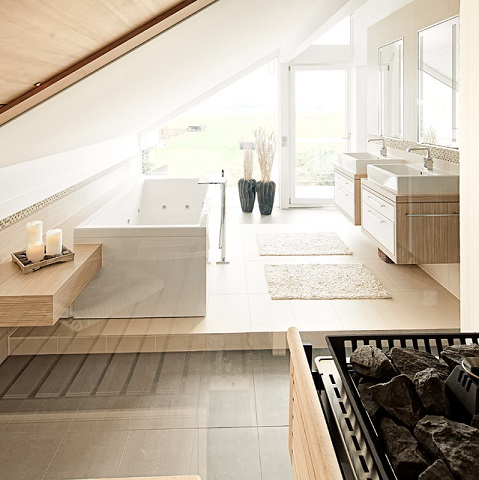 The slope of some attic ceilings can be quite severe, but even the worst offenders can usually be made to accommodate a functional bathroom (by raum.atelier, Fred Urbanke)