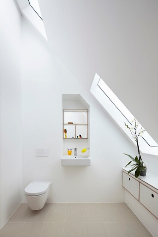 Wall mounted sinks are also great for a white-on-white minimalistic decoor (by piercyandco)