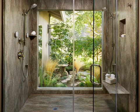 Even if you can't actually connect your bathroom with your outdoor spaces, try to make the most of the view (by Butler-Johnson Corporation)