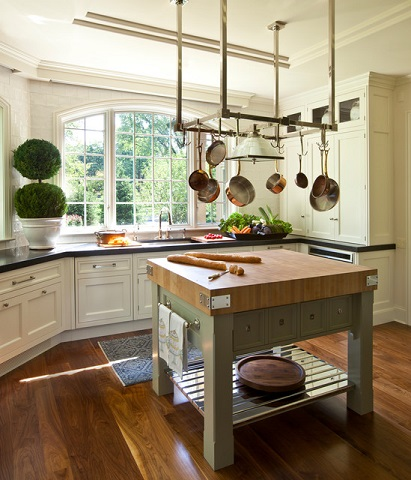 Wood countertops pair well with other materials, which means they're great either for the whole kitchen, or for an accent - like a prep space or kitchen island (by Marshall Morgan Erb Design Inc., photo by Nick Johnson)