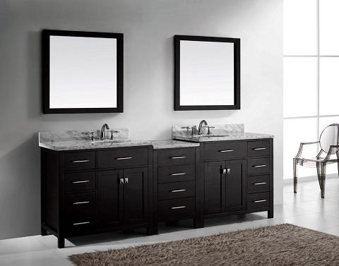 "Caroline Parkway 93"" Double Sink Vanity Set in Espresso MD-2193-WMRO-ES from Virtu USA"