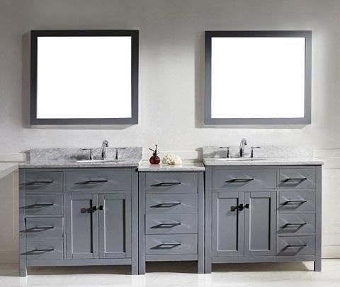 """Caroline Parkway 93"""" Double Sink Vanity Set in Grey MD-2193-WMRO-GR from Virtu USA"""