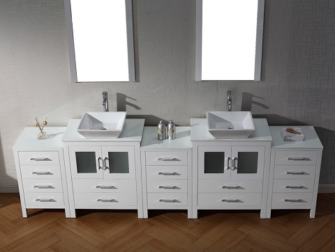 """Dior 110"""" Double Sink Bathroom Vanity Set in White KD-700110-S-WH from Virtu USA"""