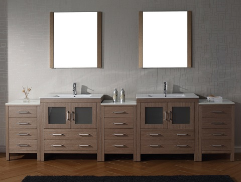 "Dior 118"" Double Sink Bathroom Vanity Set in Dark Oak KD-700118-C-DO from Virtu USA"