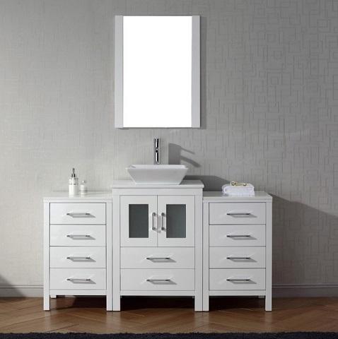 "Dior 60"" Single Sink Vanity Set in White KS-70060-S-WH from Virtu USA"