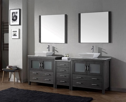 "Dior 78"" Double Sink Vanity Set in Zebra Gray KD-70078-WM-ZG from Virtu USA"
