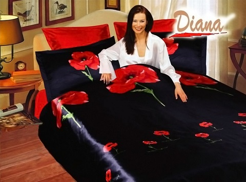 Weasel Black 6 Piece Polyester Bed Set DI284Q from Diana