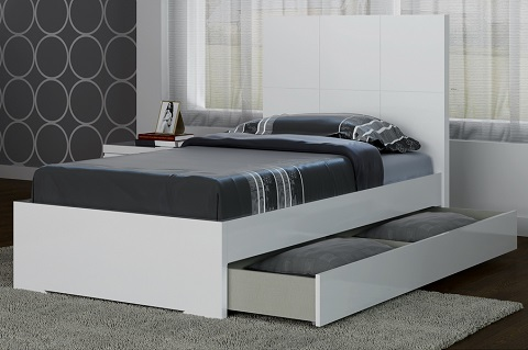 Anna Twin Storage Bed BT1207T-WHT from Whiteline Imports